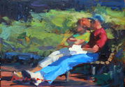 Taking a Break in Columbia Square 5x7 oil on panel
